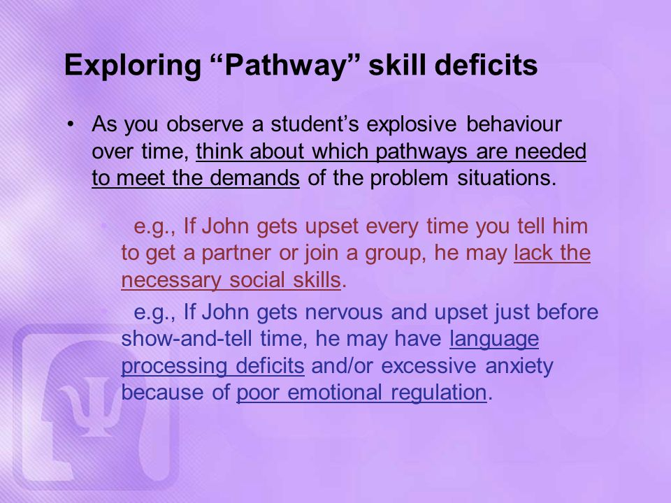 As you observe a student's explosive behaviour over time, think about which pathways are needed to meet the demands of the problem situations.