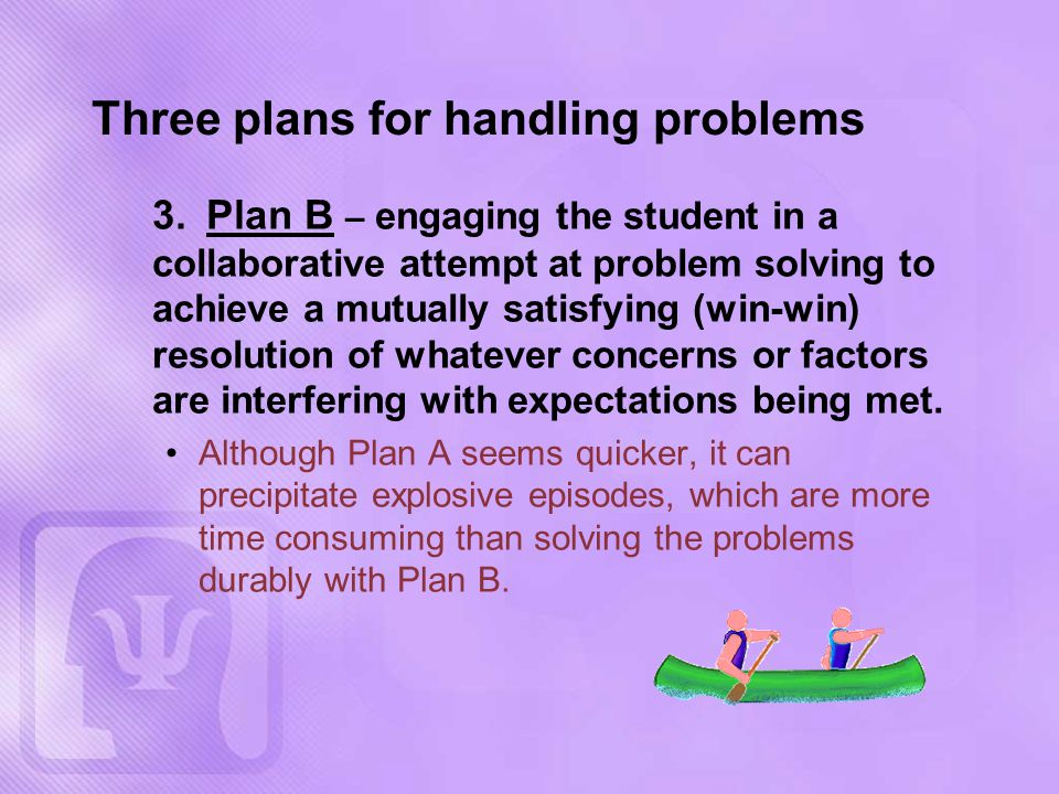 Three plans for handling problems 3.