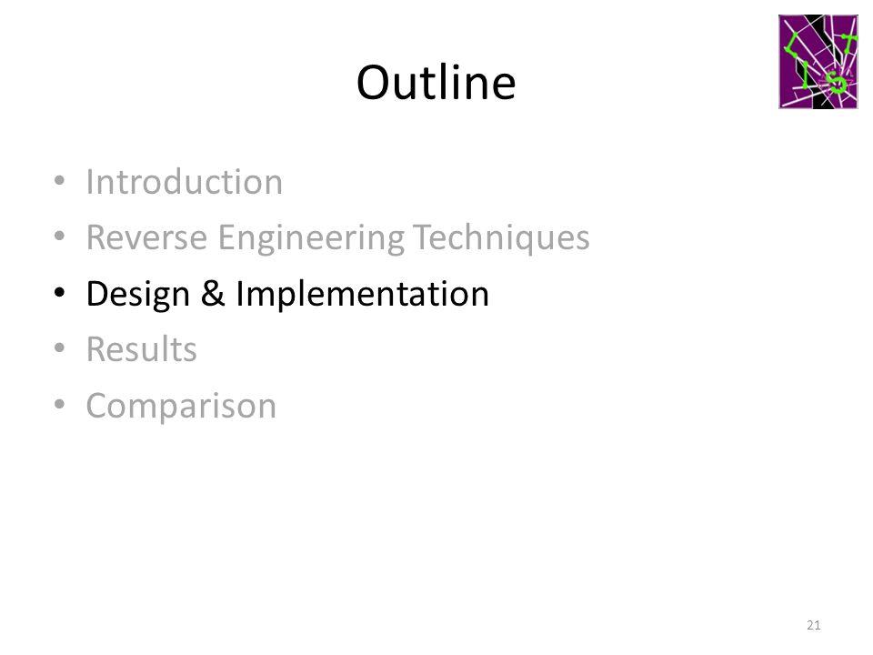 Outline Introduction Reverse Engineering Techniques Design & Implementation Results Comparison 21