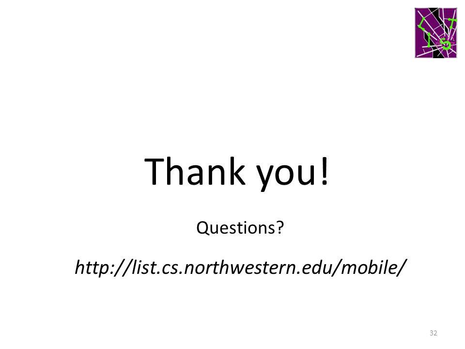 32 Thank you! http://list.cs.northwestern.edu/mobile/ Questions?