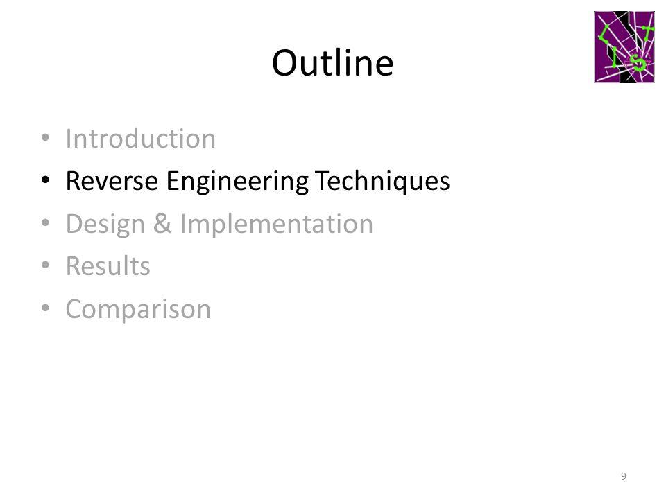 Outline Introduction Reverse Engineering Techniques Design & Implementation Results Comparison 9