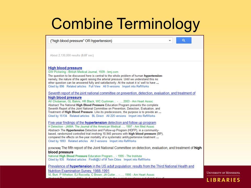 Combine Terminology