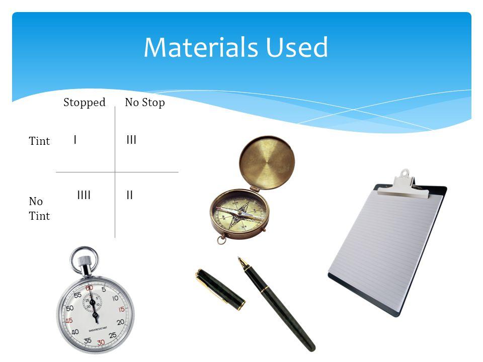 Materials Used StoppedNo Stop Tint No Tint IIII IIII II