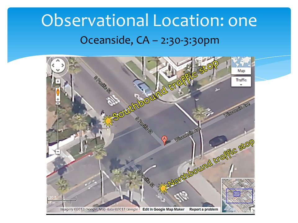 Observational Location: one Oceanside, CA – 2:30-3:30pm