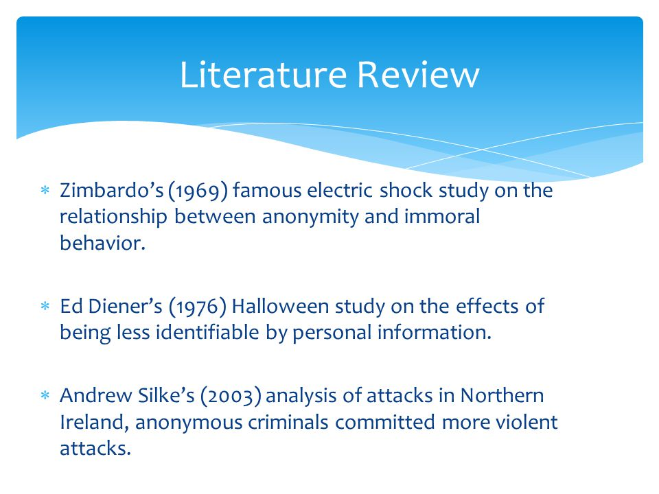  Zimbardo's (1969) famous electric shock study on the relationship between anonymity and immoral behavior.