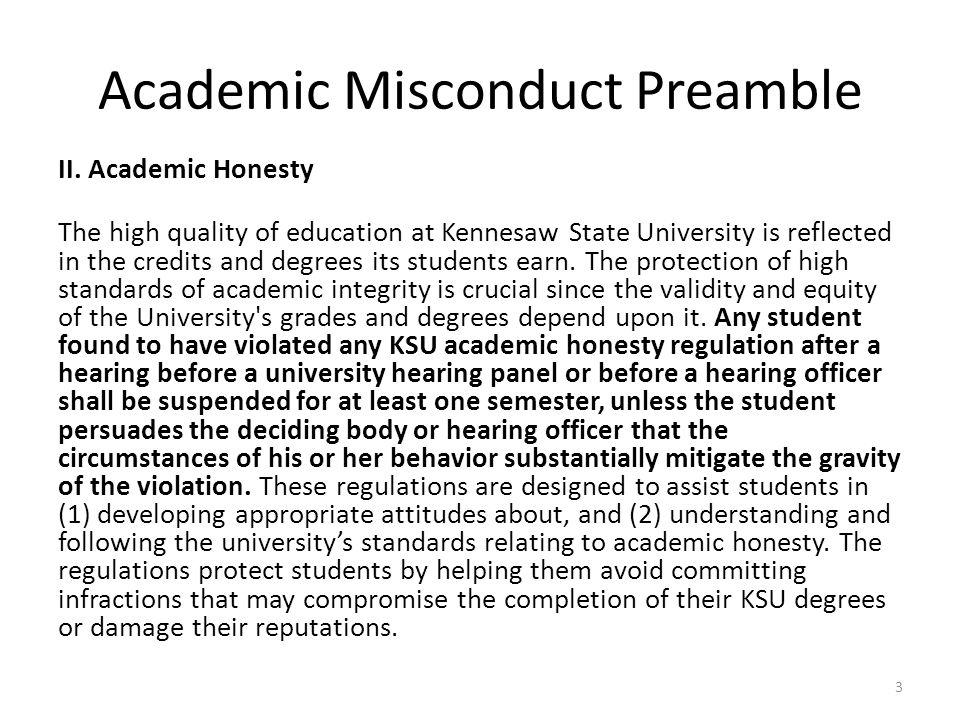Academic Misconduct Preamble II.