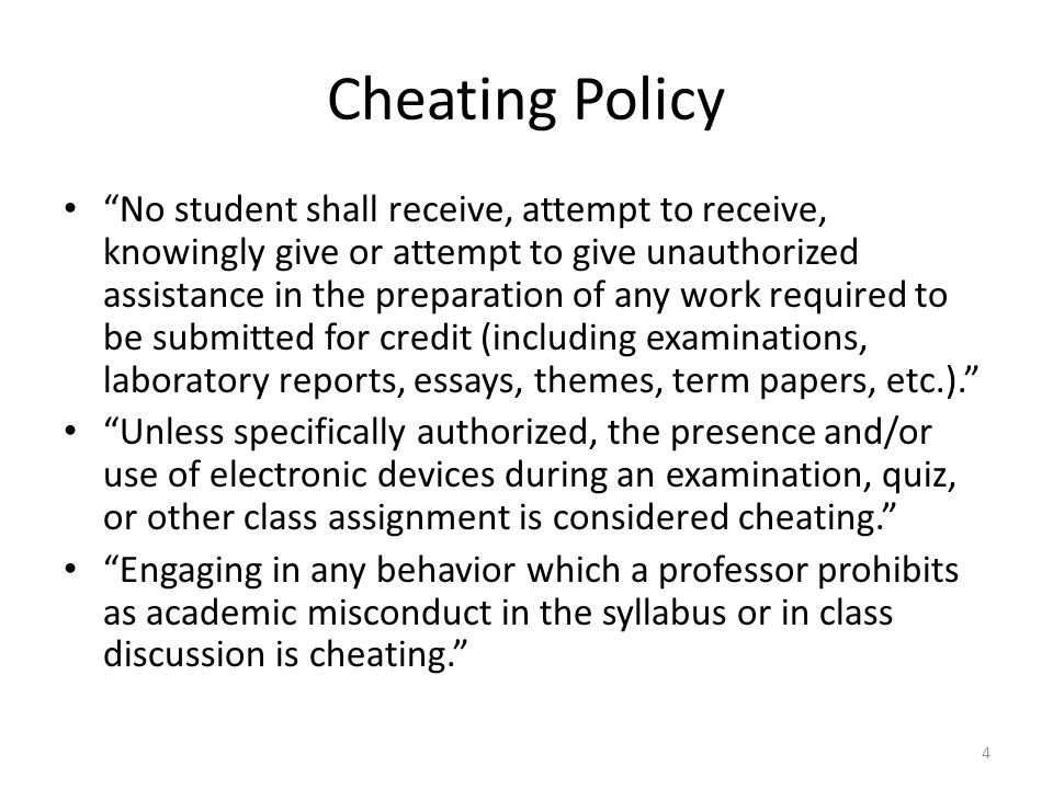 "Cheating Policy ""No student shall receive, attempt to receive, knowingly give or attempt to give unauthorized assistance in the preparation of any wor"