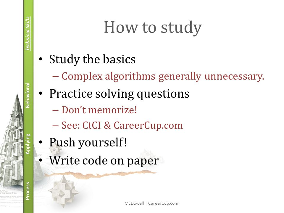 Technical Skills Behavioral Applying Process How to study Study the basics – Complex algorithms generally unnecessary.
