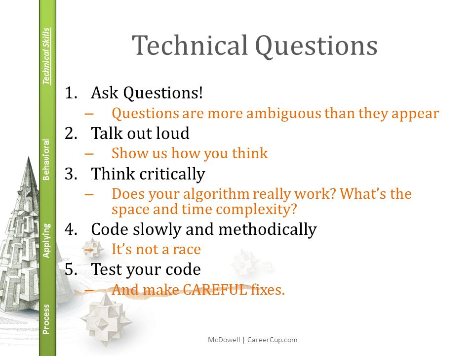 Technical Skills Behavioral Applying Process Technical Questions 1.Ask Questions.
