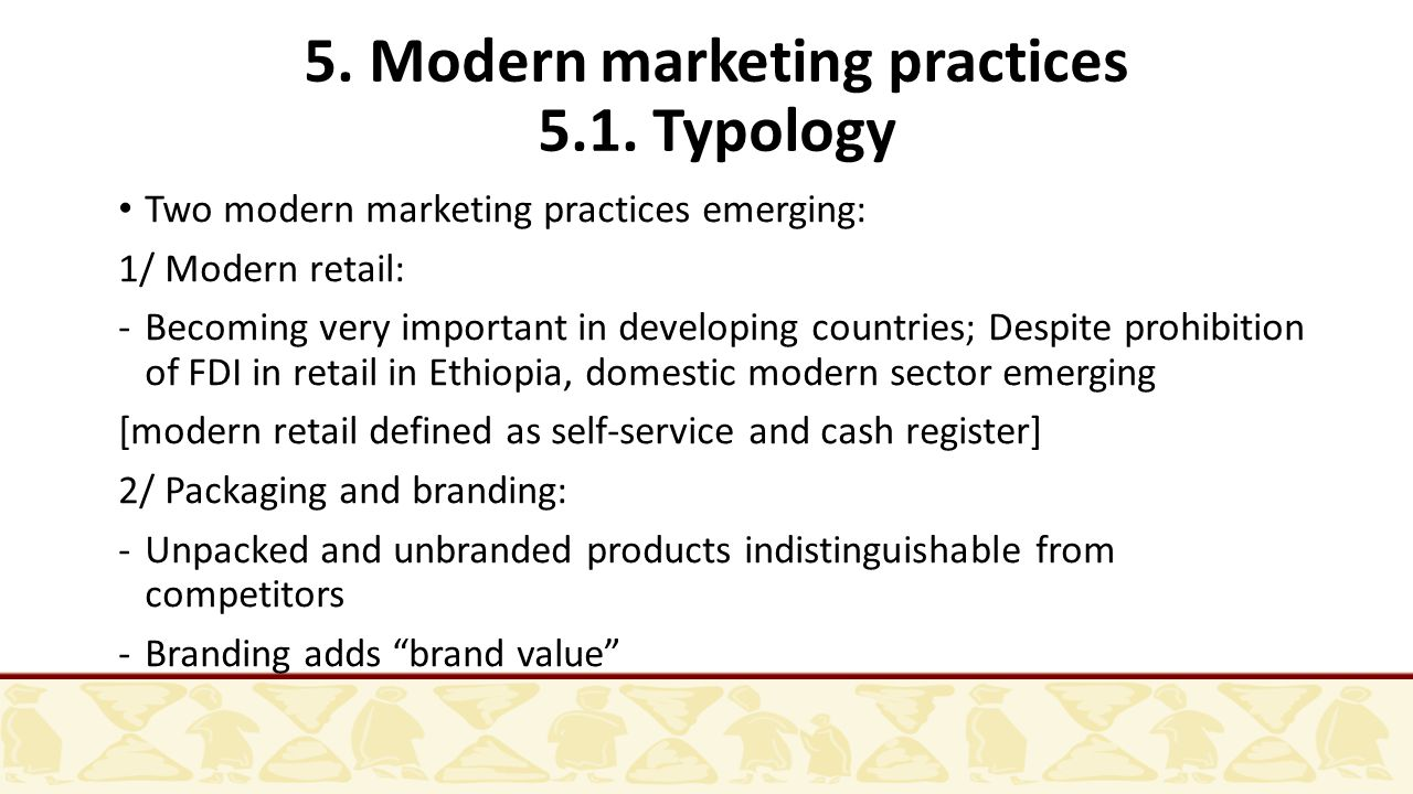 5. Modern marketing practices 5.1.