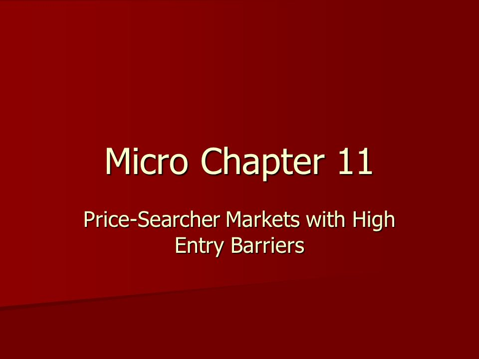 Micro Chapter 11 Price-Searcher Markets with High Entry Barriers