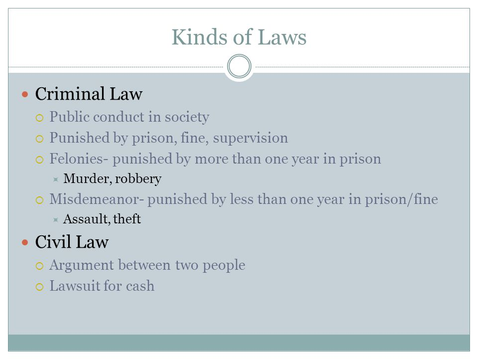 Kinds of Laws Criminal Law  Public conduct in society  Punished by prison, fine, supervision  Felonies- punished by more than one year in prison 