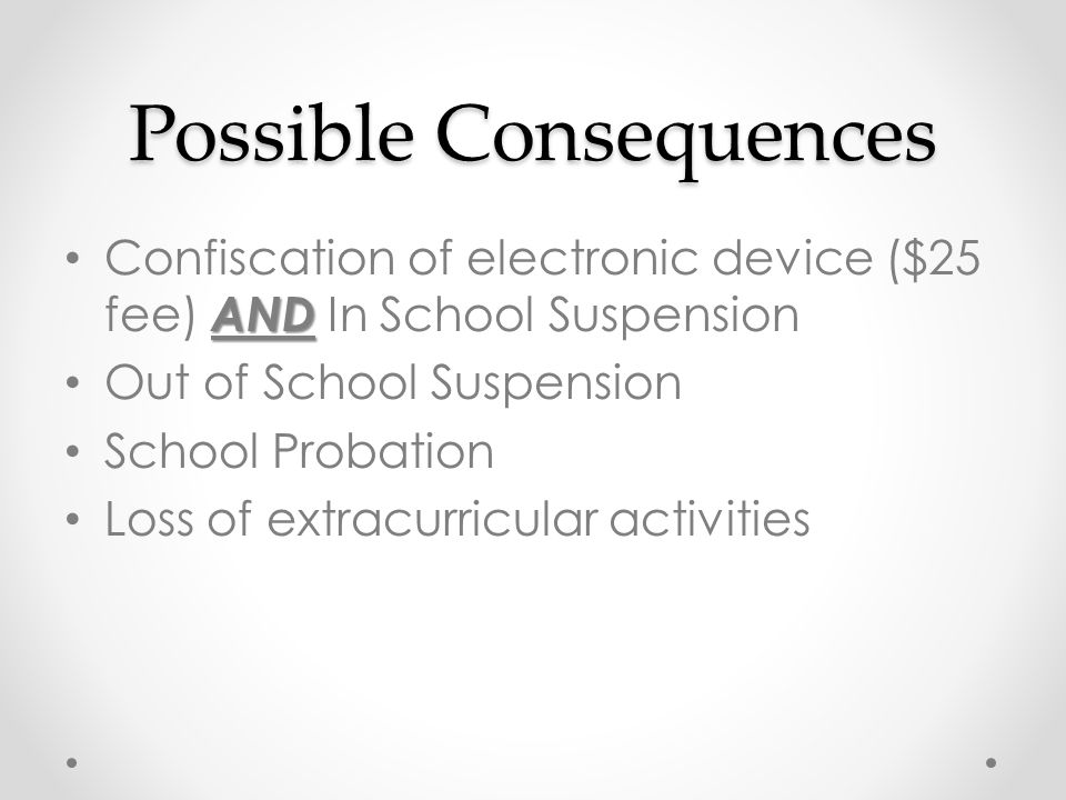 Possible Consequences AND Confiscation of electronic device ($25 fee) AND In School Suspension Out of School Suspension School Probation Loss of extracurricular activities