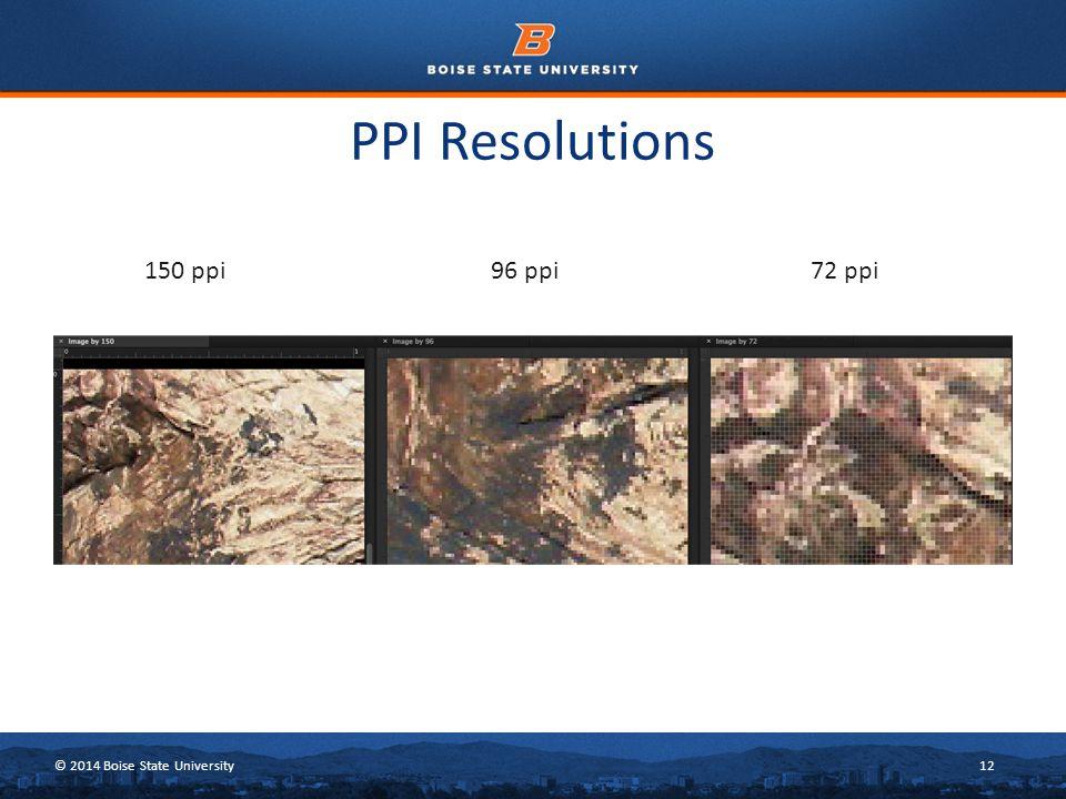 © 2014 Boise State University12 PPI Resolutions 150 ppi96 ppi72 ppi