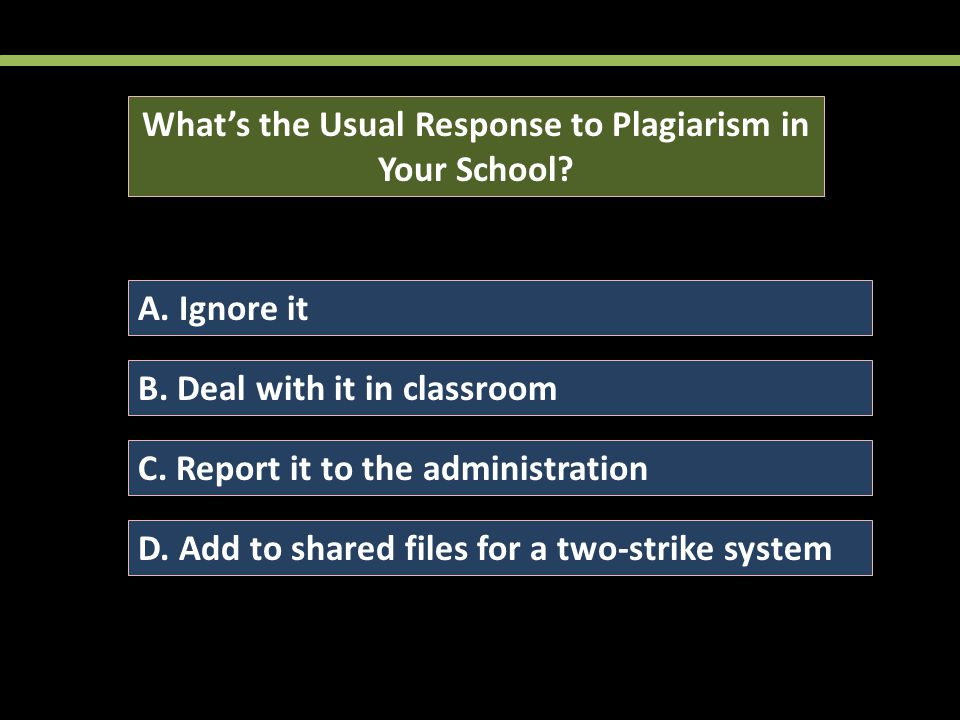 What's the Usual Response to Plagiarism in Your School.