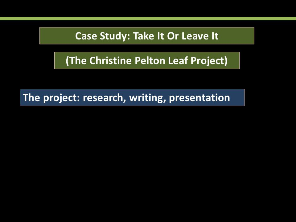 Case Study: Take It Or Leave It (The Christine Pelton Leaf Project) The project: research, writing, presentation Classroom results: 25% plagiarism