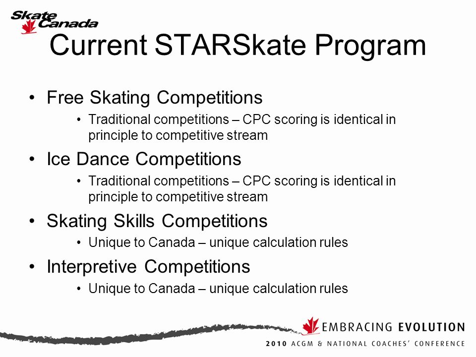Current STARSkate Program Free Skating Competitions Traditional competitions – CPC scoring is identical in principle to competitive stream Ice Dance C