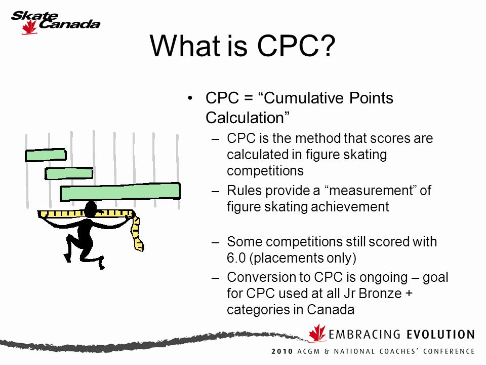 "What is CPC? CPC = ""Cumulative Points Calculation"" –CPC is the method that scores are calculated in figure skating competitions –Rules provide a ""meas"