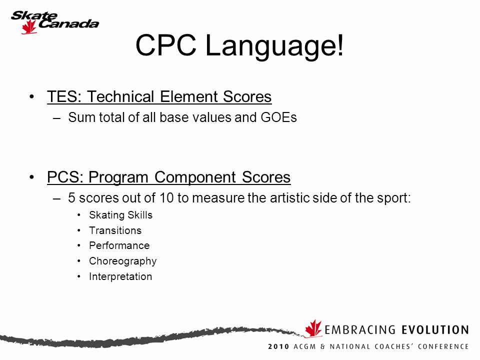 TES: Technical Element Scores –Sum total of all base values and GOEs PCS: Program Component Scores –5 scores out of 10 to measure the artistic side of