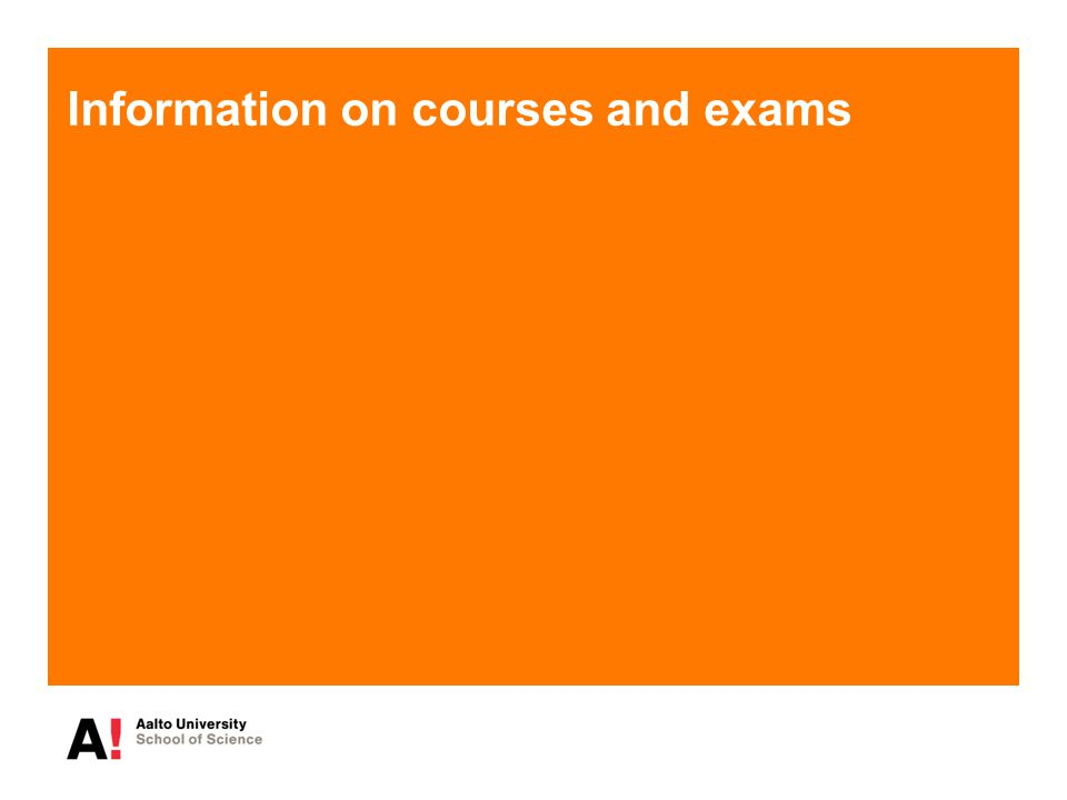 Information on courses and exams