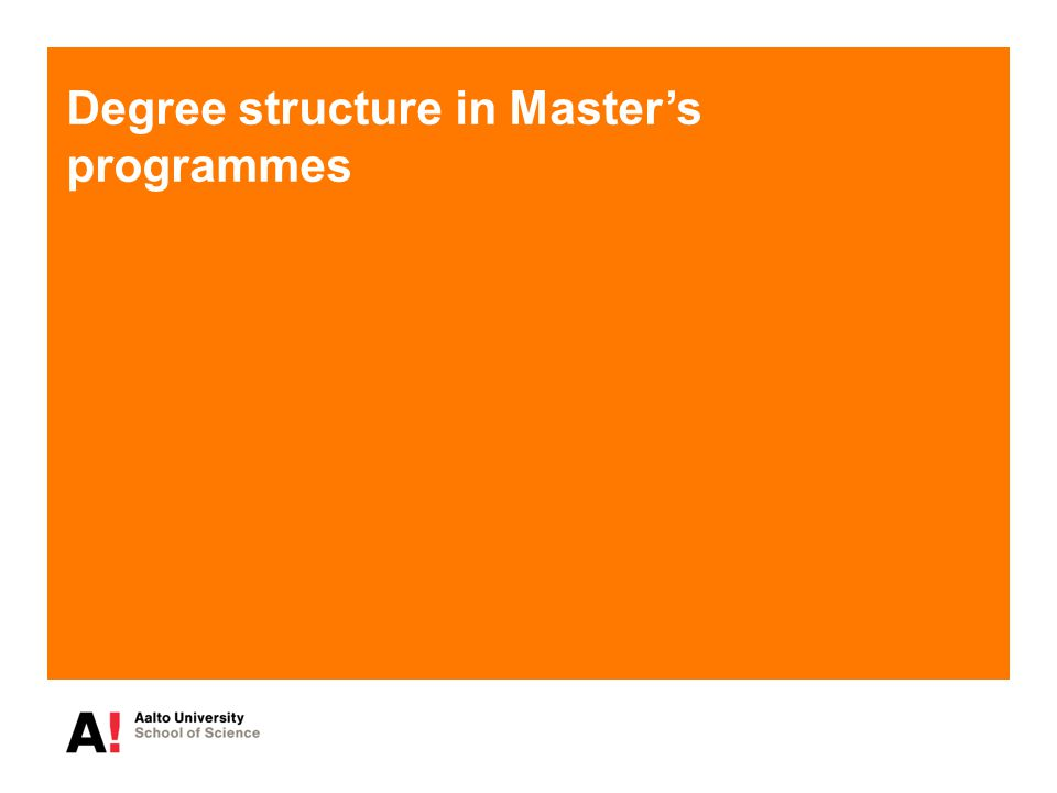 Degree structure in Master's programmes
