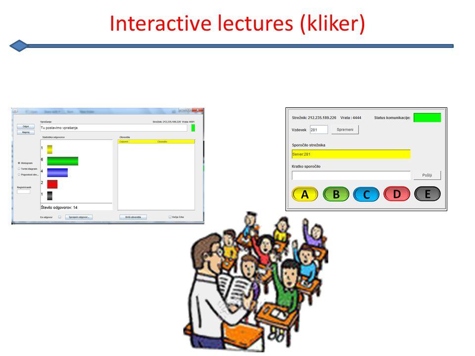 Kliker on Internet http://Kliker.sio.si Students Lecturer http://Kliker.sio.si/predavatelj.html Internet service Platform independent(mobile devices..) Independent of firewalls Othing to download Concept of rooms WebSockets, jQuery,..