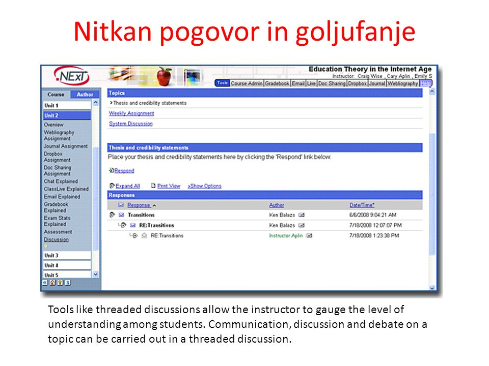 Nitkan pogovor in goljufanje Tools like threaded discussions allow the instructor to gauge the level of understanding among students.