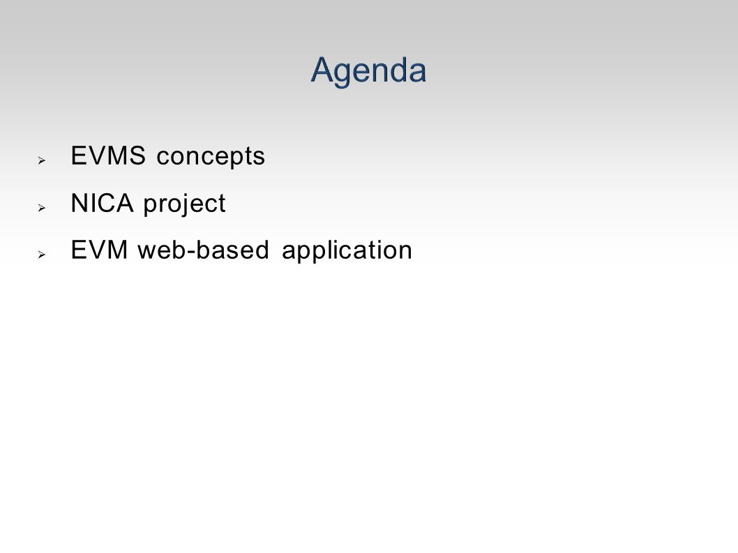  EVMS concepts  NICA project  EVM web-based application