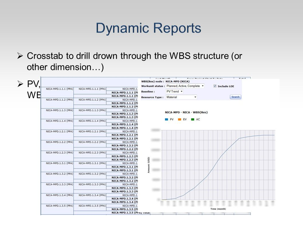  Crosstab to drill drown through the WBS structure (or other dimension…)  PV, EV, AC Charts at every WBS level