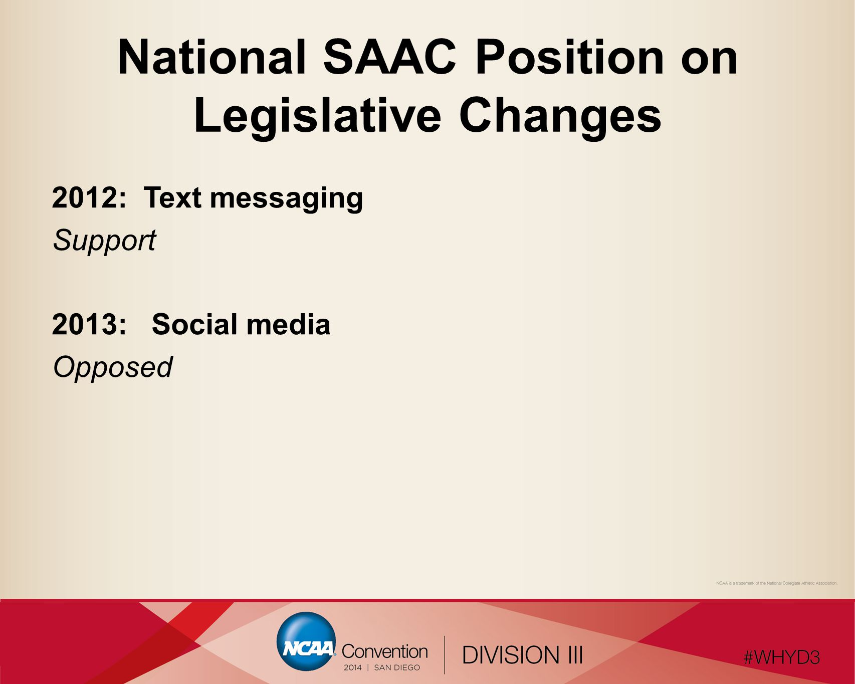 National SAAC Position on Legislative Changes 2012: Text messaging Support 2013: Social media Opposed