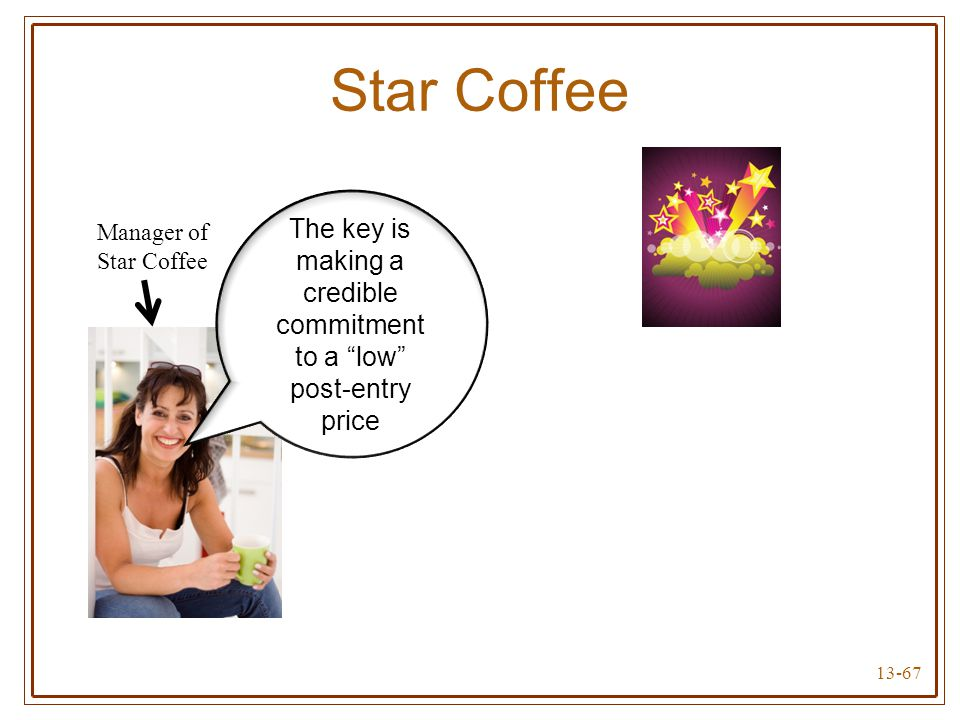 """13-67 Star Coffee Manager of Star Coffee The key is making a credible commitment to a """"low"""" post-entry price"""