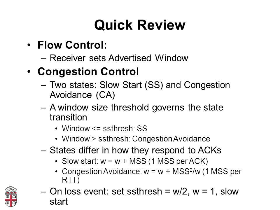 AIMD Flow Rate A Flow Rate B Fair: A = B Efficient: A+B = C AI MD