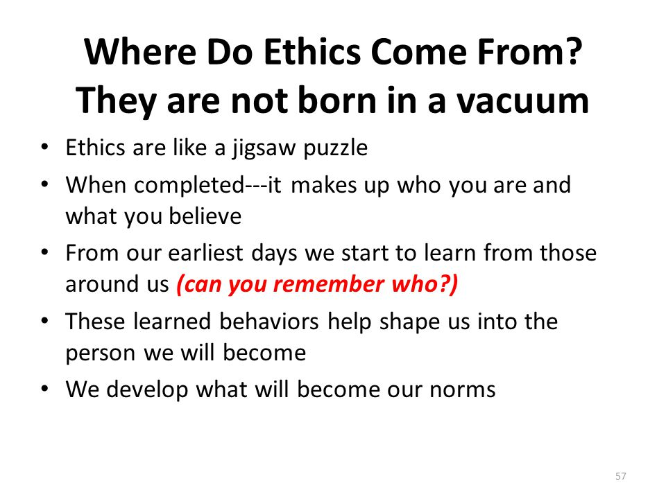 Where Do Ethics Come From.