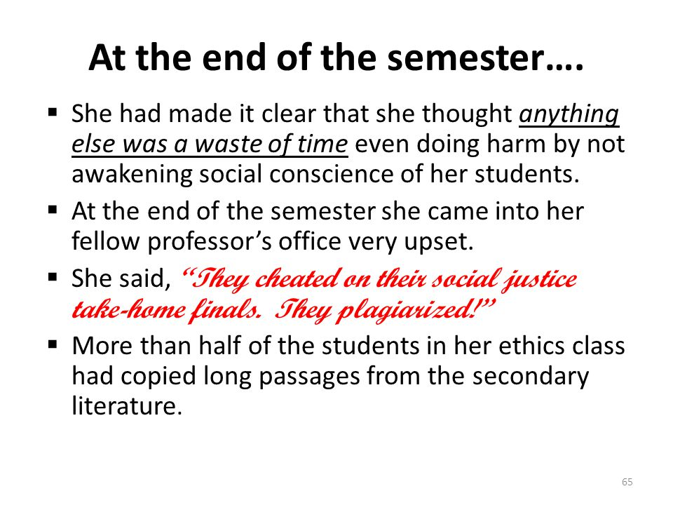 At the end of the semester….