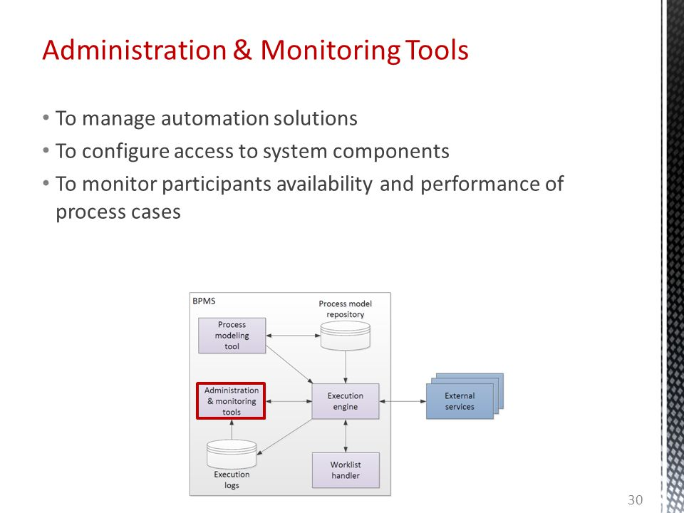 Administration & Monitoring Tools To manage automation solutions To configure access to system components To monitor participants availability and performance of process cases 30