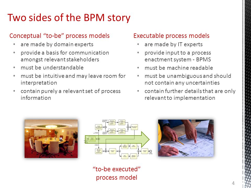"""Conceptual """"to-be"""" process models are made by domain experts provide a basis for communication amongst relevant stakeholders must be understandable mu"""