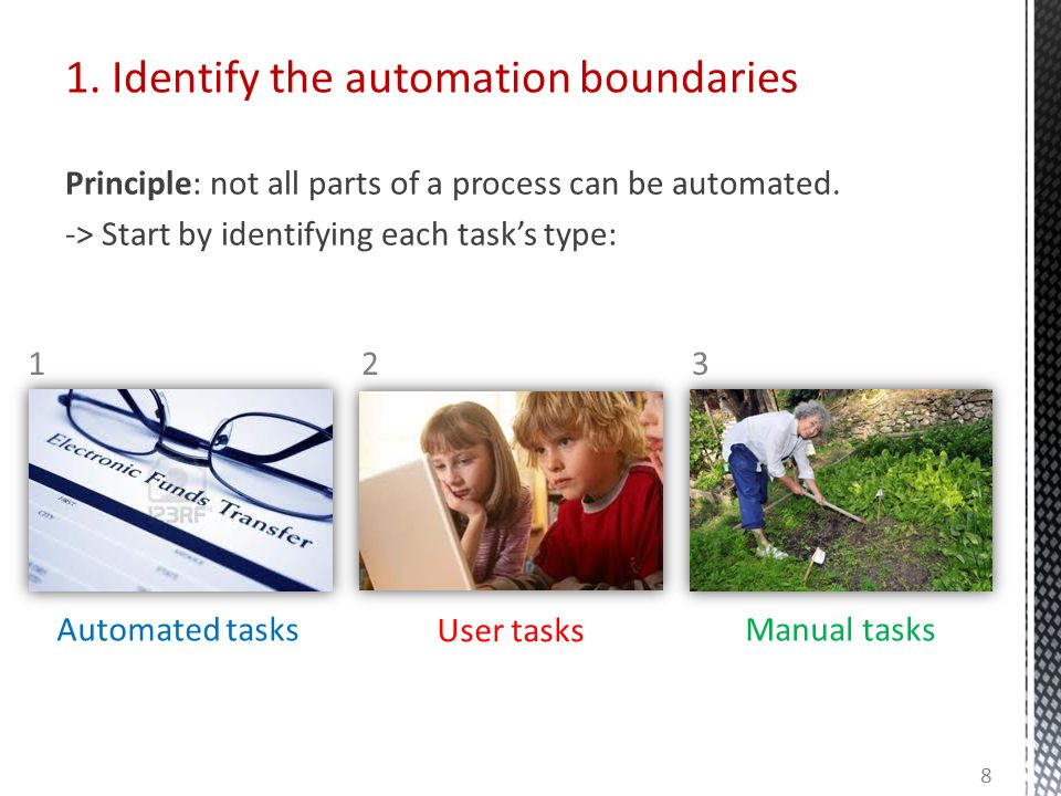 1. Identify the automation boundaries Principle: not all parts of a process can be automated.