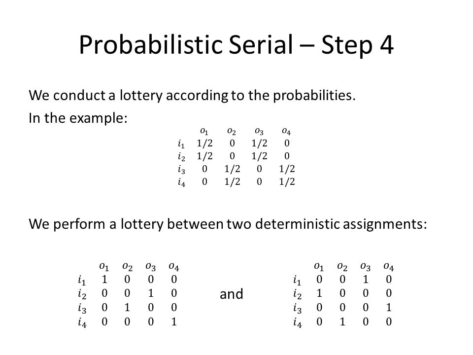 Probabilistic Serial – Step 4