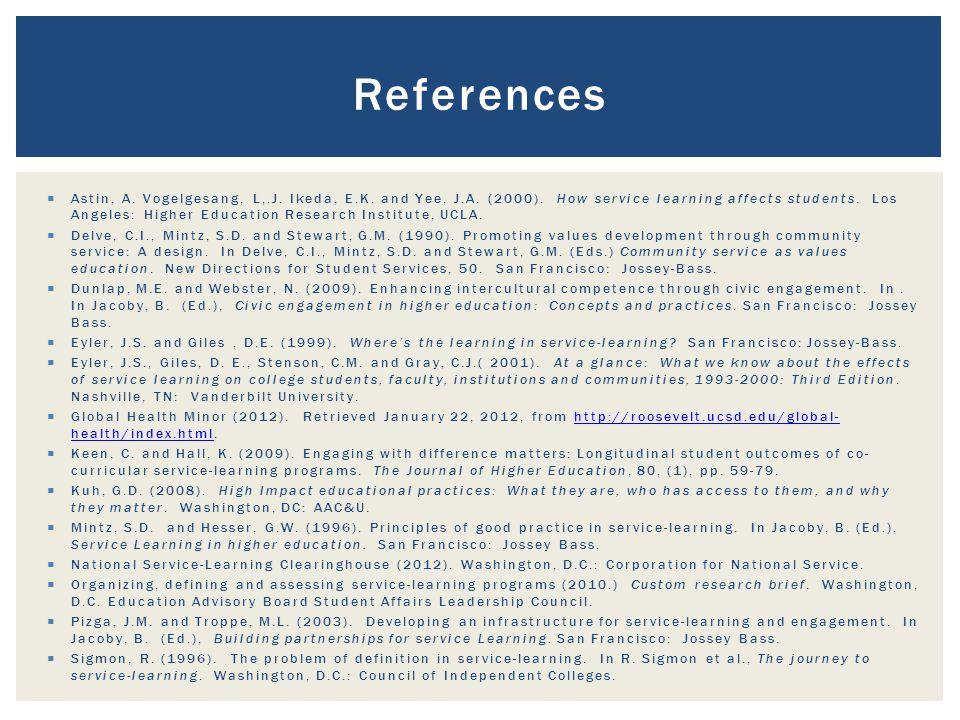 References  Astin, A. Vogelgesang, L,.J. Ikeda, E.K.