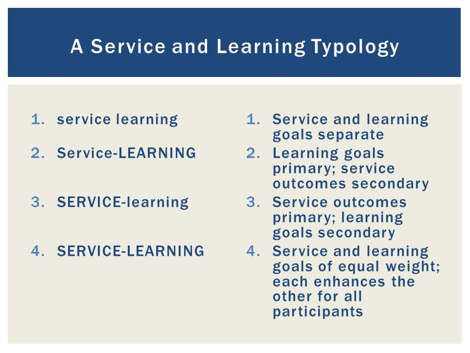1.service learning 2.Service-LEARNING 3.SERVICE-learning 4.SERVICE-LEARNING 1.Service and learning goals separate 2.Learning goals primary; service outcomes secondary 3.Service outcomes primary; learning goals secondary 4.Service and learning goals of equal weight; each enhances the other for all participants A Service and Learning Typology