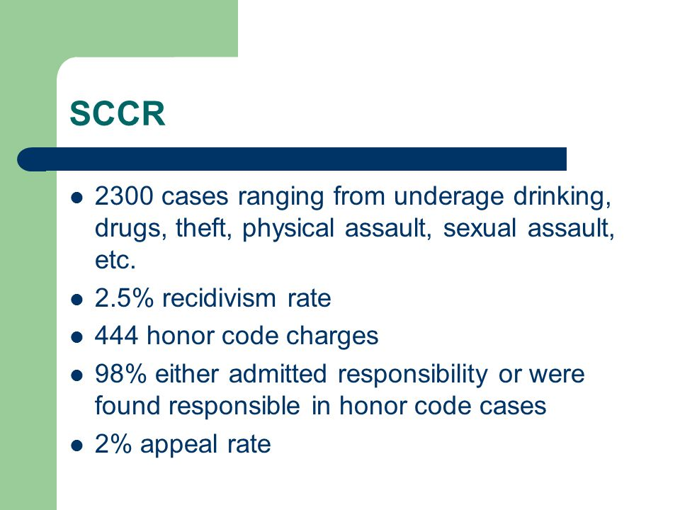 SCCR 2300 cases ranging from underage drinking, drugs, theft, physical assault, sexual assault, etc.