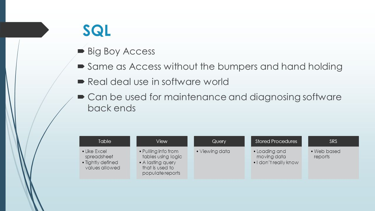 SQL  Big Boy Access  Same as Access without the bumpers and hand holding  Real deal use in software world  Can be used for maintenance and diagnosing software back ends Table Like Excel spreadsheet Tightly defined values allowed View Pulling info from tables using logic A lasting query that is used to populate reports Query Viewing data Stored Procedures Loading and moving data I don't really know SRS Web based reports