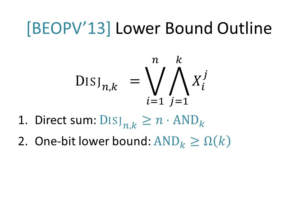 [BEOPV'13] Lower Bound Outline