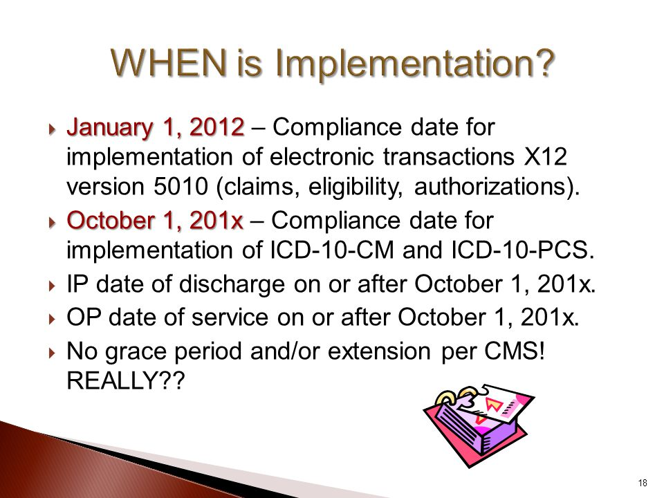  January 1, 2012  January 1, 2012 – Compliance date for implementation of electronic transactions X12 version 5010 (claims, eligibility, authorizati