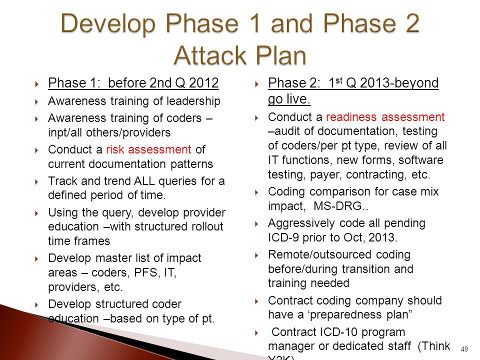  Phase 1: before 2nd Q 2012  Awareness training of leadership  Awareness training of coders – inpt/all others/providers  Conduct a risk assessment