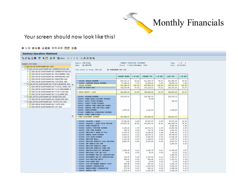 Monthly Financials Your screen should now look like this!