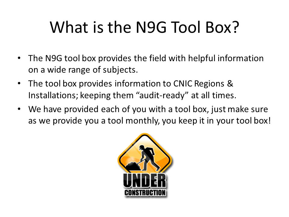 What is the N9G Tool Box.