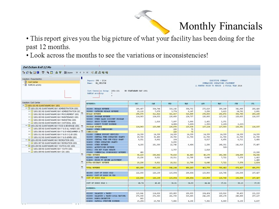 Monthly Financials This report gives you the big picture of what your facility has been doing for the past 12 months.