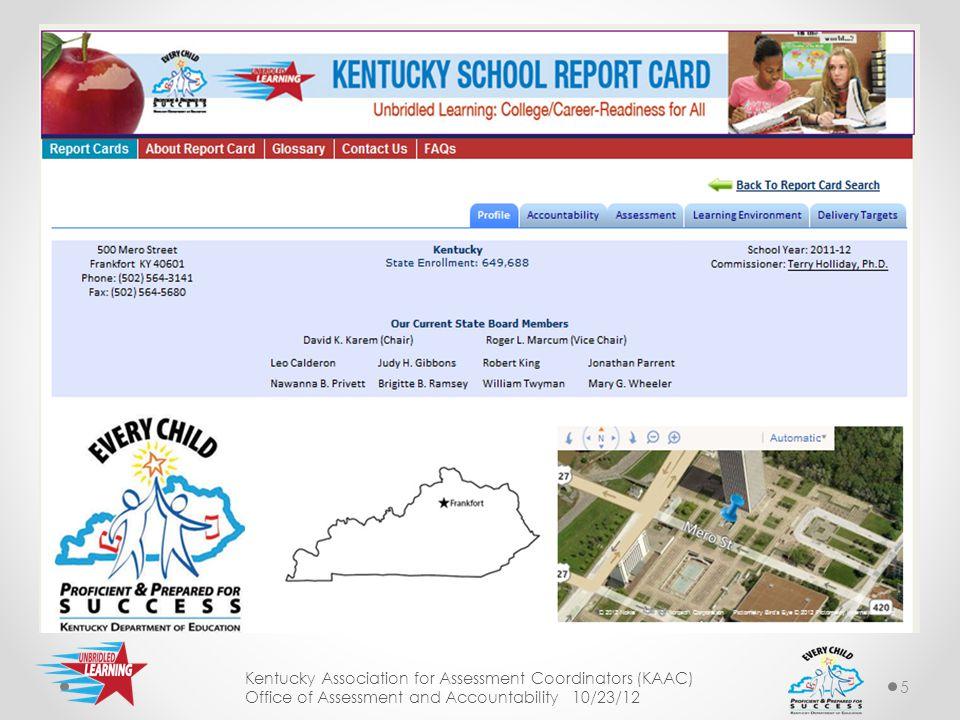 6 School Address, Phone and Fax Kentucky Association for Assessment Coordinators (KAAC) Office of Assessment and Accountability 10/23/12