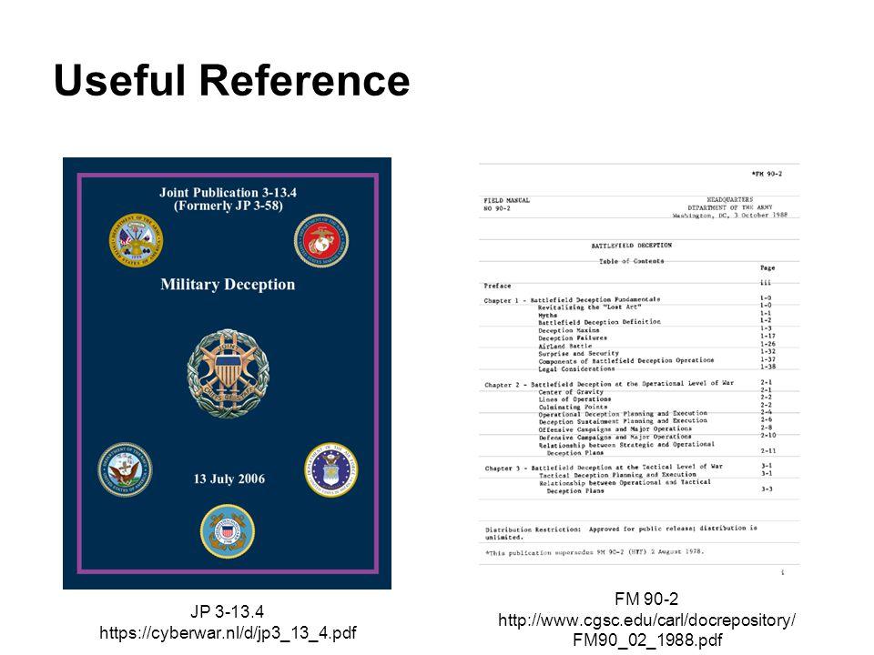 Useful Reference JP 3-13.4 https://cyberwar.nl/d/jp3_13_4.pdf FM 90-2 http://www.cgsc.edu/carl/docrepository/ FM90_02_1988.pdf